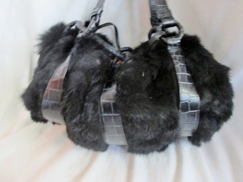 VALERIE STEVENS BLACK FUR Purse Tote Bowler Satchel Clutch Shoulder Bag GLAM