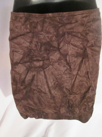 WOMENS BUSHWACKER Genuine Suede Leather Mini SKIRT Miniskirt 6 BROWN CRINKLE