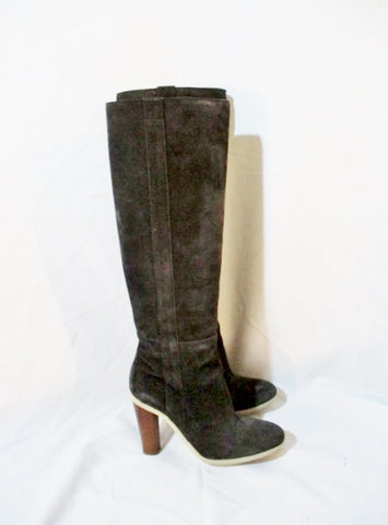 JIL SANDER Suede Leather Knee High Heel Boot 36 6 BROWN ESPRESSO Womens