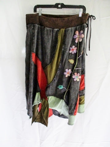Womens RISING INTERNATIONAL PATCHWORK Hippy Skirt BLACK 3XL Floral Embroidered