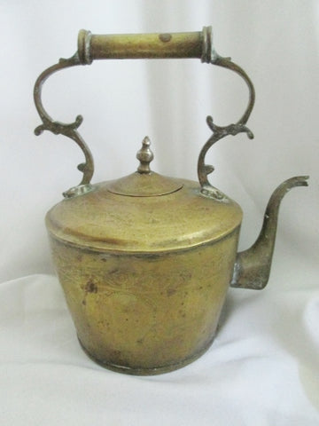 Vintage Antique Handmade Metal TEA KETTLE Teapot Handle Primitive Rustic Spout Large