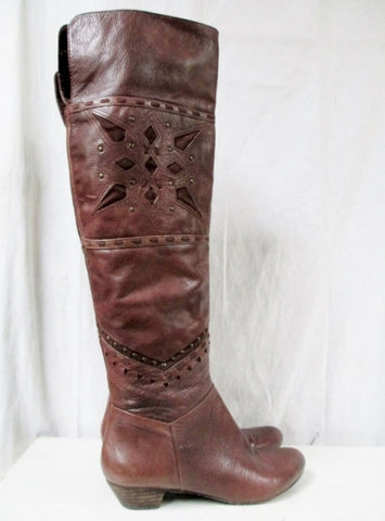 Womens NINE WEST Leather Riding Cut Out Stud Boot Shoe 7.5 BROWN Boho Indie