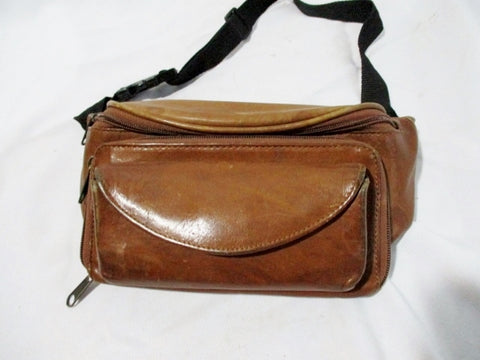 BOULDER RIDGE LEATHER Running Bumbag Fanny Pack Waist Belt Travel Bag BROWN Pouch