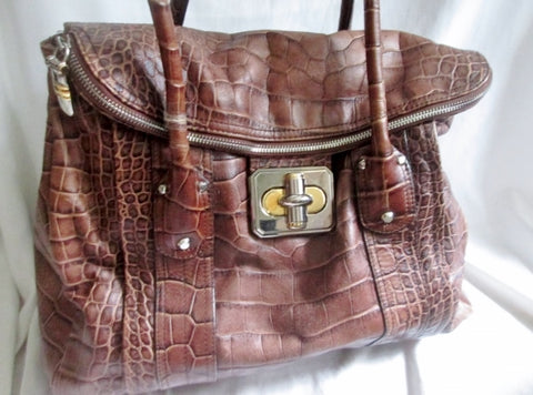 B. MAKOWSKY CROC ALLIGATOR Print Leather TOTE carryall satchel bag BROWN XL