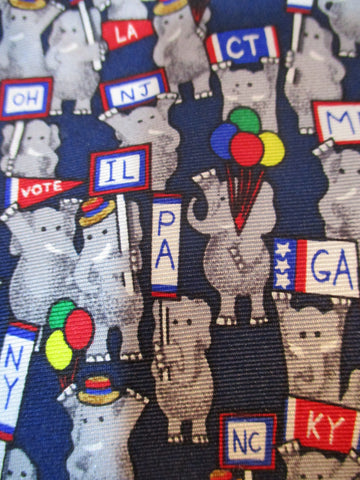 REPUBLICANS USA  100% Silk NECK TIE Necktie ELEPHANT BLUE PRESIDENT