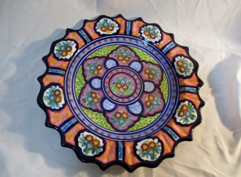 HANDMADE SIGNED CASA JAQUICA Ceramic Pottery ART SERVING PLATTER TRAY Colorful