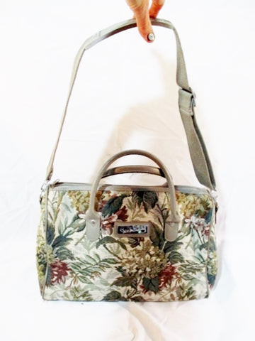 DIANE VON FURSTENBERG Duffel Tote Bag Travel Carry-On BROCADE Floral