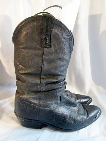 Womens ZODIAC LEATHER Cowboy Slouch BOOT WESTERN BLACK 8.5 EW Boho Rider