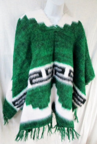 EUC Mens Womens Blanket Poncho Vest Ethnic WHITE GREEN Fringe OS FLEECE