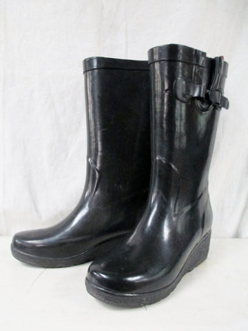 Womens Ladies CAPELLI NEW YORK Wellies Rain Boots Rainboots Foul Weather BLACK 9 Heel