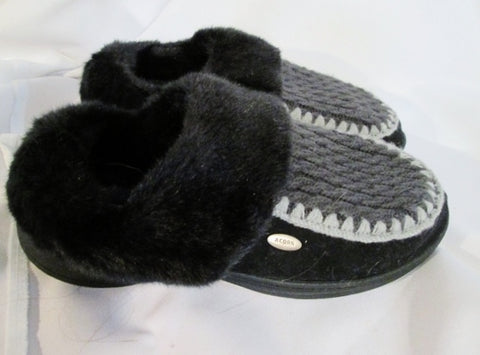 NEW Womens ACORN Plush Faux Fur Knit Clog Moc Slippers Slides 8 BLACK GRAY