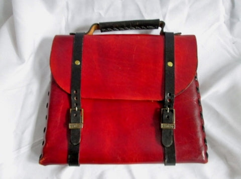 FS EARTHBAGS All Leather Flap Briefcase Attache BURGUNDY RED Stitch Limited Ed