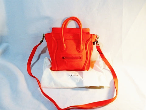 NEW NWT CELINE PARIS NANO LUGGAGE Leather Tote Bag FLUO ORANGE Purse