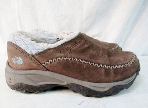 GIRLS THE NORTH FACE Waterproof SUEDE LEATHER Slip On SHOE Moc BROWN 2