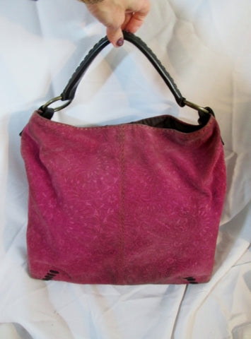 LUCKY BRAND Suede Leather hobo satchel shoulder saddle bag PINK BERRY Floral Stitch