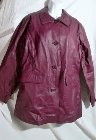Womens CENTIGRADE LEATHER jacket Moto Coat XL BURGUNDY RED BROWN Riding