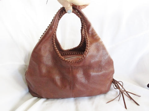 BANANA REPUBLIC Leather Bag HOBO Satchel Tote BROWN Purse Fringe Tassel Whipstitch