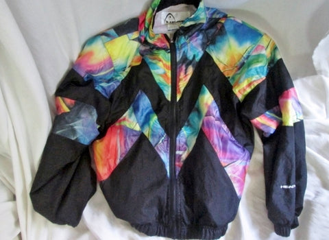 WOMENS Mens HEAD Fitness Running Windbreaker Jacket Coat Parka S BLACK MULTI Athletic