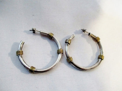 HANDMADE STERLING SILVER HOOP LOOP Pierced Earring Jewelry 10.4g Ethnic Fashion