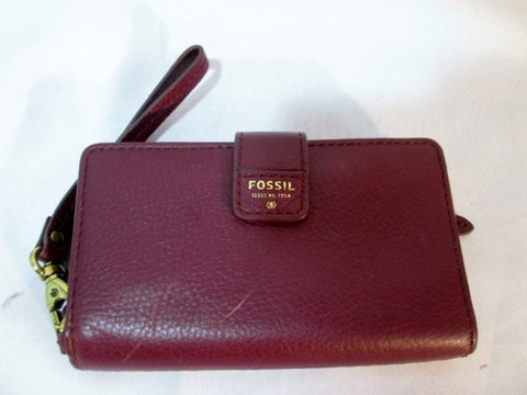 FOSSIL EST. 1954 LEATHER change purse Wallet Organizer BROWN RED Wristlet Boho