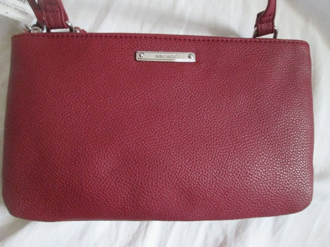 NEW NWT NINE WEST POLISH Vegan CLUTCH Shoulder Bag RED BURGUNDY BROWN