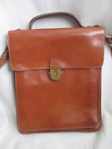 Mens Womens Vtg EFFEDUE ITALY LEATHER Oblong Shoulder Bag Man Purse Case BROWN