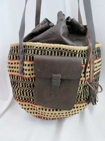 Woven Straw Leather Basket Sling Satchel Shoulder Market Bucket Bag BROWN NATURAL