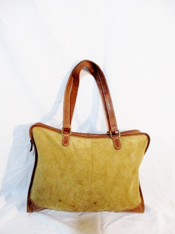 ESE ESE Suede Leather Briefcase Carryall Tote Shoulder Bag BROWN