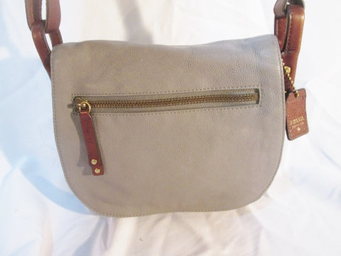 FOSSIL leather messenger satchel shoulder flap crossbody saddle bag GRAY GREY purse man