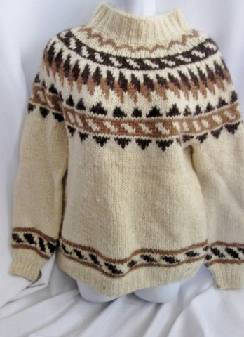 Womens Islenzkur Heimilisionaour ICELAND Wool Knit Sweater Ethnic M Pullover Creme Brown Winter