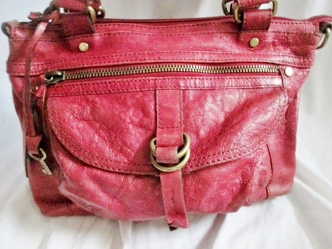 FOSSIL distressed leather satchel shoulder hobo saddle bag RED tote key