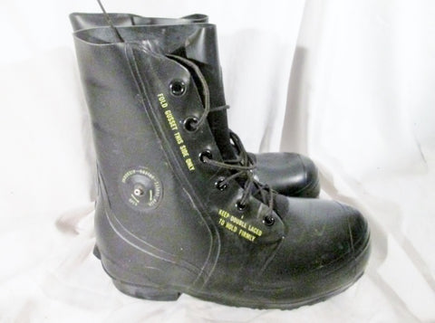 Vtg Mens BATA MILITARY BOOTS US 12-82 MICKEY MOUSE RUBBER BLACK 10W BLUCHER