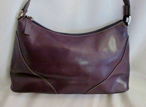 VERA PELLE ITALY LEATHER hobo satchel shoulder bag purse PURPLE VIOLET EGGPLANT