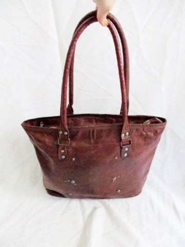 Vintage Distressed Stud Leather Briefcase Handbag Satchel Tote Bag BROWN Boho