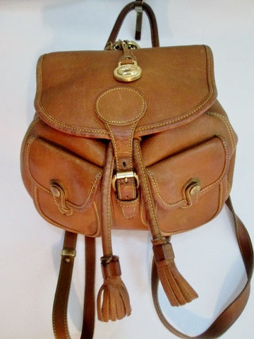 DOONEY & BOURKE Leather Drawstring BACKPACK Rucksack Travel BAG BROWN USA