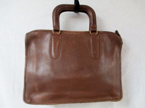 Vtg Style Thick Leather Briefcase Handbag Satchel Tote Clutch Bag BROWN NY USA