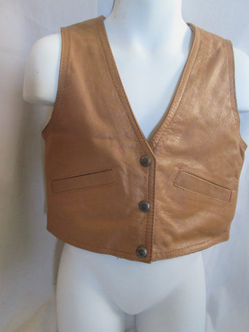 Vintage Child Kids ALL-AMERICAN leather vest jacket Moto BROWN XS western cowboy