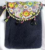 NEW NWT CHRISTIAN LIVINGSTON shoulder bag purse + wallet BLACK Embroidered