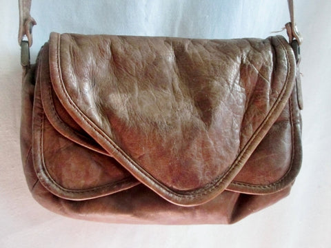 WILSONS Mini Leather Handbag Crossbody Purse Shoulder Flap Bag BROWN Saddle