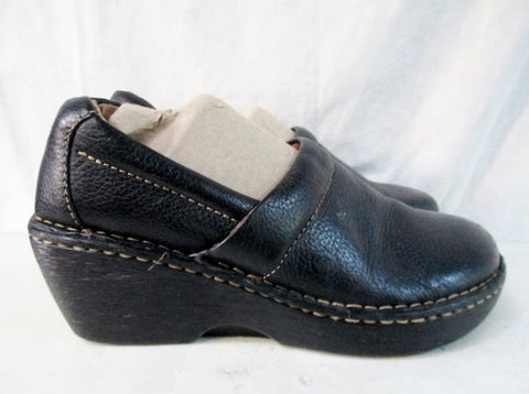 Womens BORN Leather Clog Shoe Slip-On Loafer Comfort Walking BLACK 8