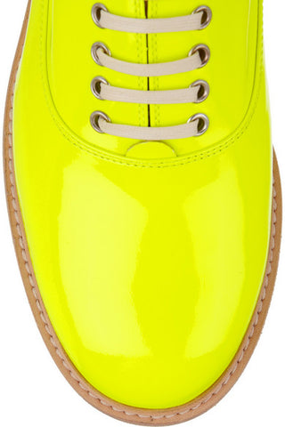 NEW CHRISTIAN LOUBOUTIN HAVANA FLAT BROGUE SHOE 36.5 6 YELLOW NEON Loafer PATENT Leather Womens NIB