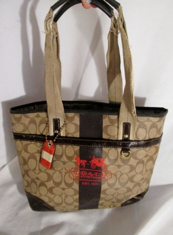 COACH 11350 HERITAGE SIGNATURE STRIPE Tote Jacquard Tote Purse Bag KHAKI BROWN