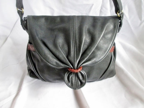 GRACE LEATHERS USA Leather Ruched Shoulder Flap Bag Crossbody BLACK Purse