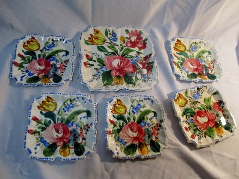 Handmade Set ITALY Ceramic Pottery Salad Dish SERVING PLATE Rose Flower Floral