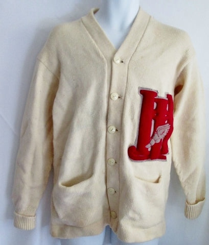 MENS HONOR KNITTING Wool Letterman Varsity Jacket Cardigan Sweater Coat RED WHITE