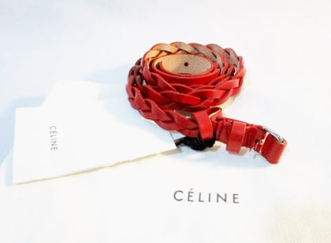 NEW NWT CELINE ITALY EXTRA THIN Leather TRESSE Braid Belt L RED