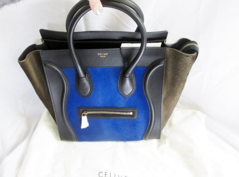 NEW NWT CELINE PARIS ITALY Leather Fur MINI ROYAL BLUE BLACK Tote Bag
