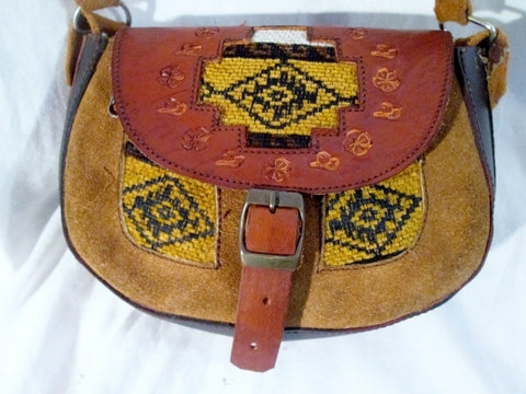 Tooled Leather Suede Hobo Shoulder Saddle Flap Bag Satchel BROWN Ethnic Woven