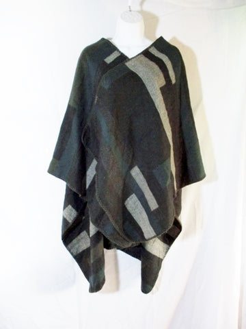Apt. 9 COLOR BLOCK Poncho Shrug Jacket BLACK GRAY OS Boho Cape