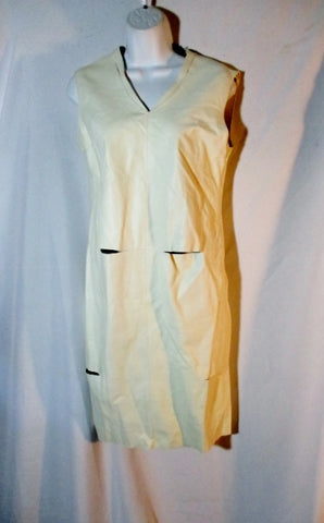 NEW NWT JIL SANDER CONCHITA SLIT LEATHER DRESS 36 / 4 WHITE CREME